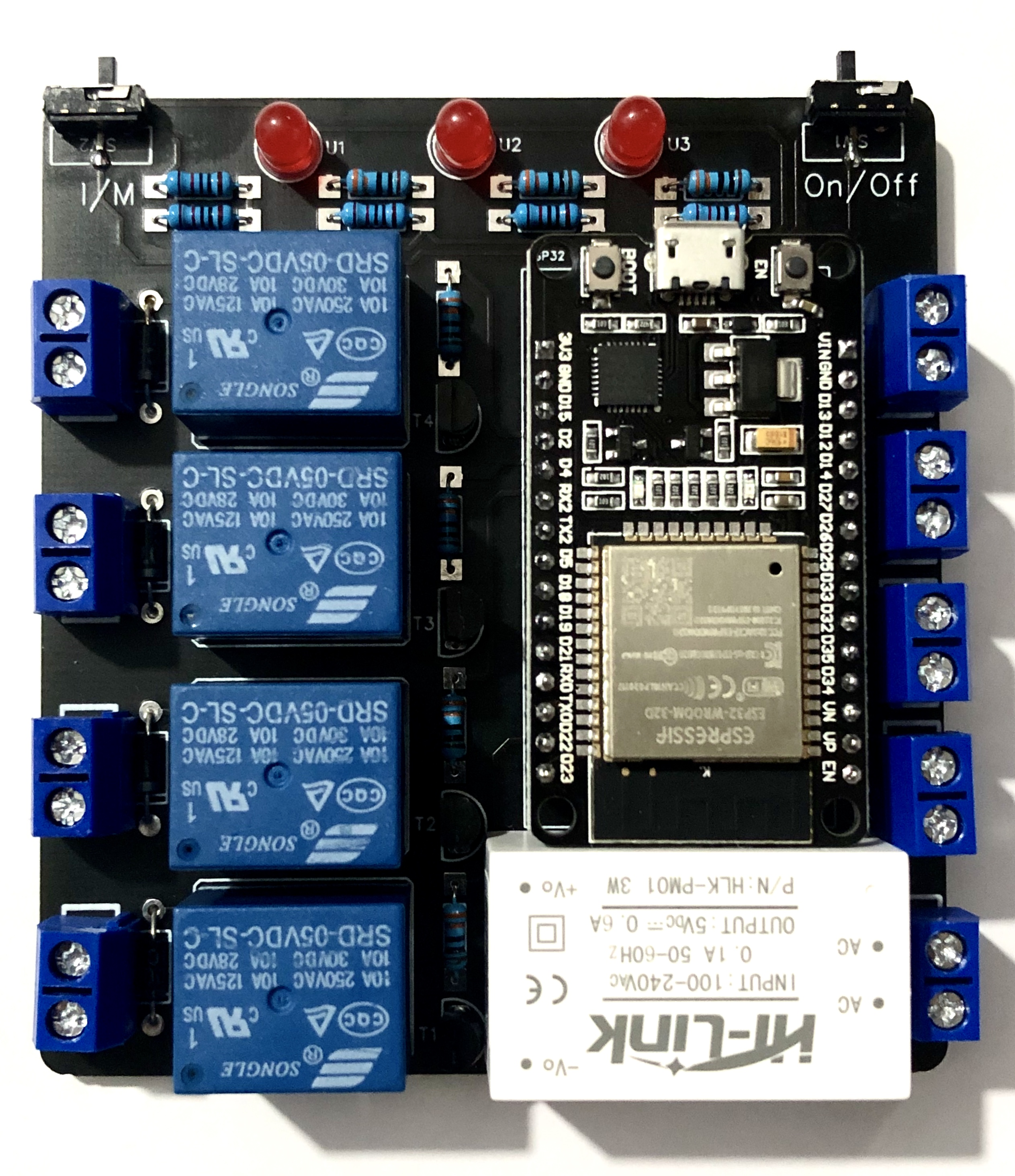 ESP32-4路远程智能开关(支持手动开关/MQTT远程控制/安卓APP控制/蓝牙控制)