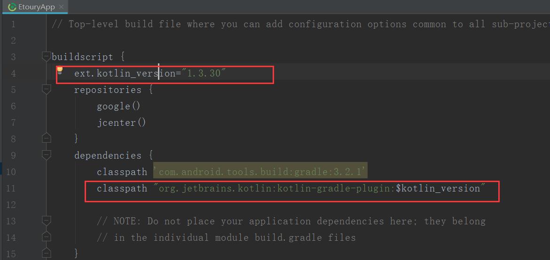使用Kotlin编写的android项目中出现Plugin with id 'kotlin-android' not found.